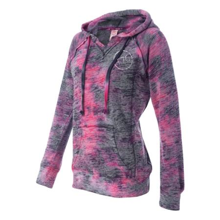 T7G Womens Burnout Pullover Hoodie  Side Raspberry